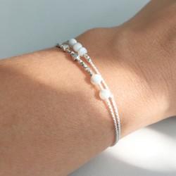 Ewa · Armband in silber und weiß