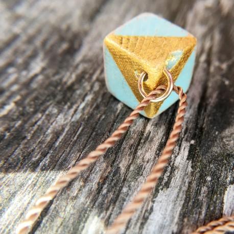 Kvadra · Treibholzkette in türkis und gold